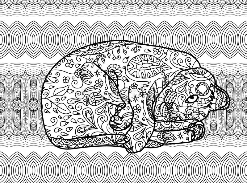Line Art Zendoodle : Zendoodle coloring page for adults funny cat stock