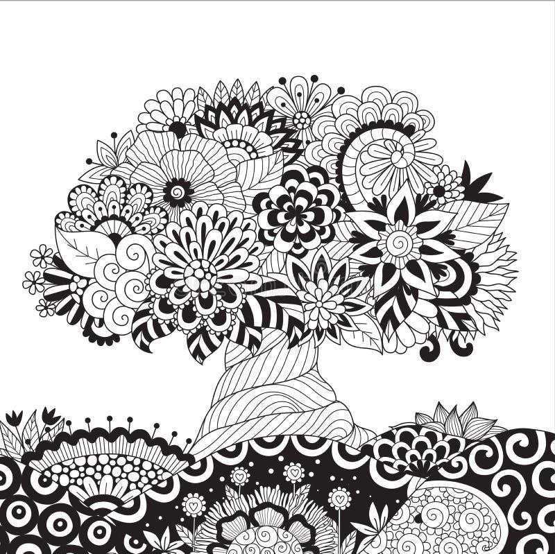 Zendoodle design av trädet på blom- jordning för designbeståndsdel och sida för vuxen människafärgläggningbok också vektor för co vektor illustrationer