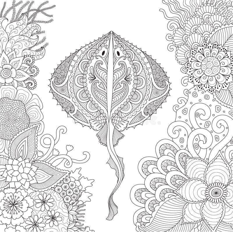 Zendoodle di nuoto di stingray fra i coralli bei sotto il mondo per le pagine adulte del libro da colorare - vettore di riserva d illustrazione di stock