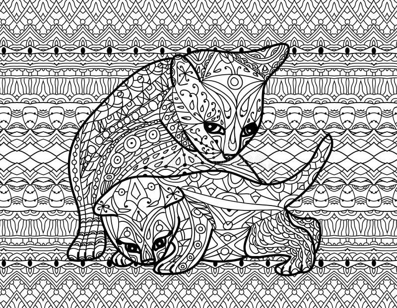 Zendoodle-Malbuch Für Erwachsene Mutterkatze Mit Kätzchen Vektor ...