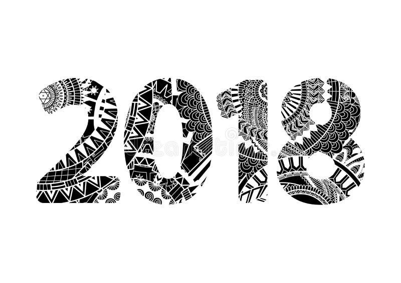 Zendoodle número interno 2018 do projeto para o elemento do projeto Ilustração do vetor ilustração royalty free