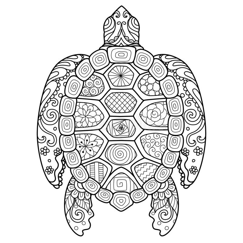 Zendoodle stiliserade av den härliga sköldpaddan för tatuering, T-tröjadesign och färgläggningboken för vuxen människa royaltyfri illustrationer