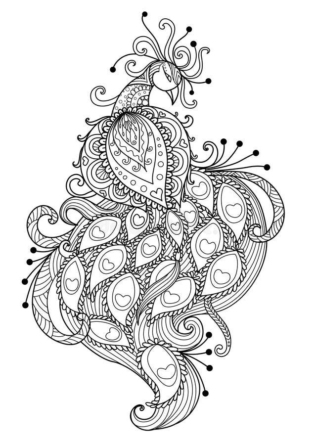 Download Zendoodle Stylized Beautiful Peacock Stock Vector