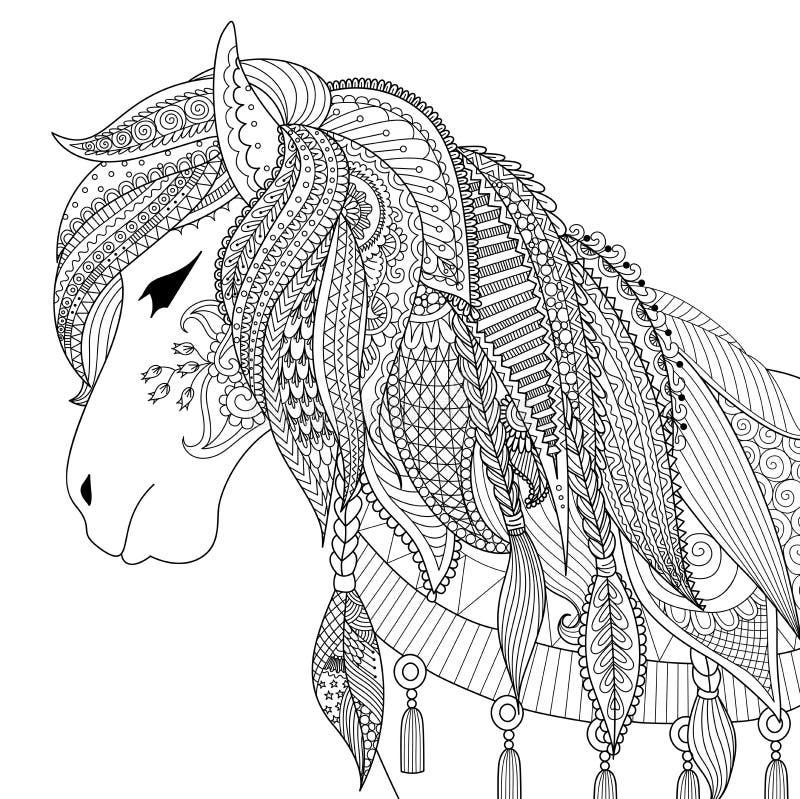 Zendoodleontwerp van paard voor volwassen kleurend boek voor antispanning royalty-vrije illustratie