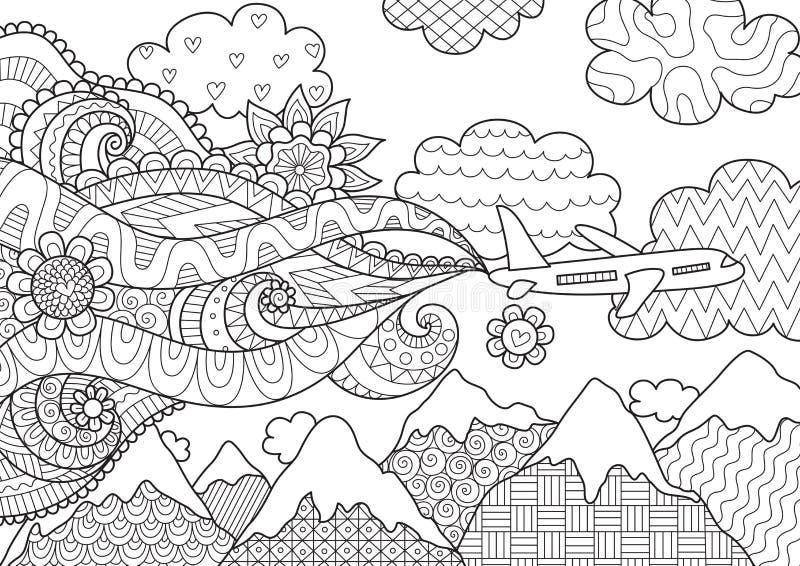Zendoodleontwerp van vliegtuig voor illustratie stock illustratie
