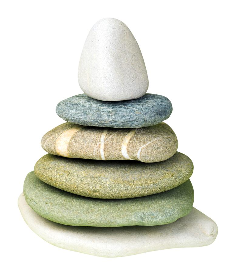 ZENES Stone multicolores aislados en blanco foto de archivo