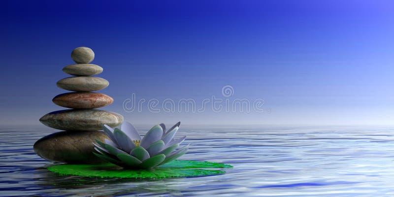 ZENES Stone y waterlilly en el fondo azul del mar y del cielo, espacio de la copia ilustración 3D libre illustration