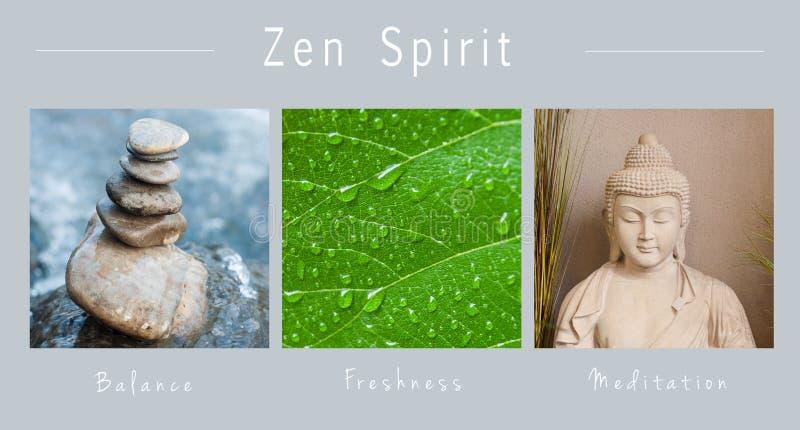 Zengeest - collage met tekst: , Saldo, Versheid en Meditatie royalty-vrije stock foto