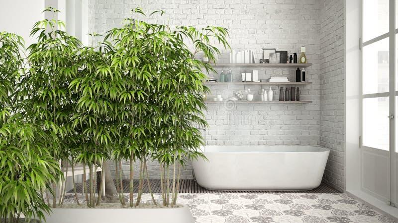 Zeninnenraum mit eingemachter Bambusanlage, natürliches Innenarchitekturkonzept, skandinavisches Badezimmer, klassisches weißes W lizenzfreie abbildung
