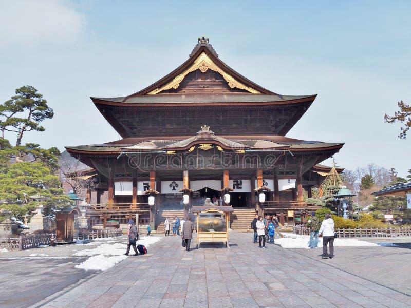 Zenkoji寺庙的主要霍尔 库存照片