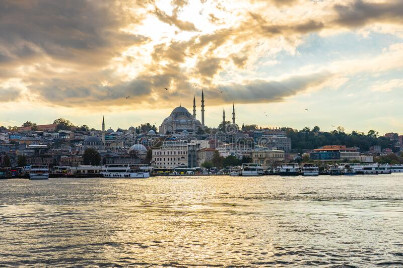 Istanbul city skyline and port of Istanbul in Turkey stock photography
