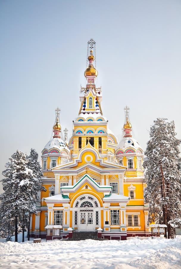 Zenkov domkyrka i Almaty royaltyfria foton