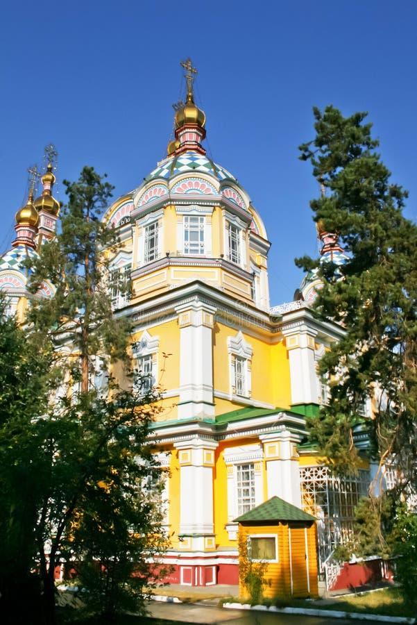 Zenkov domkyrka i Almaty, Kasakhstan royaltyfri foto