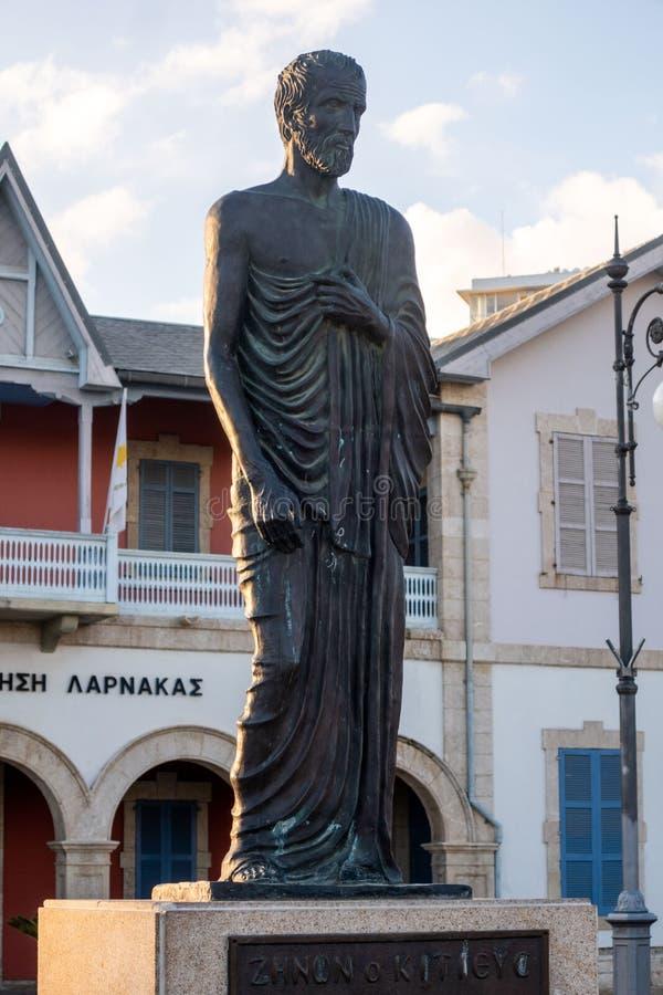 Zeno da estátua de Kition, Larnaca, Chipre fotografia de stock