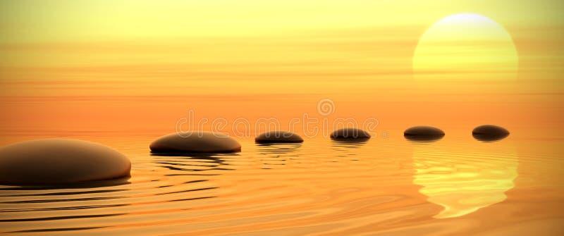 Zenpfad der Steine auf Sonnenuntergang in mit großem Bildschirm lizenzfreie abbildung