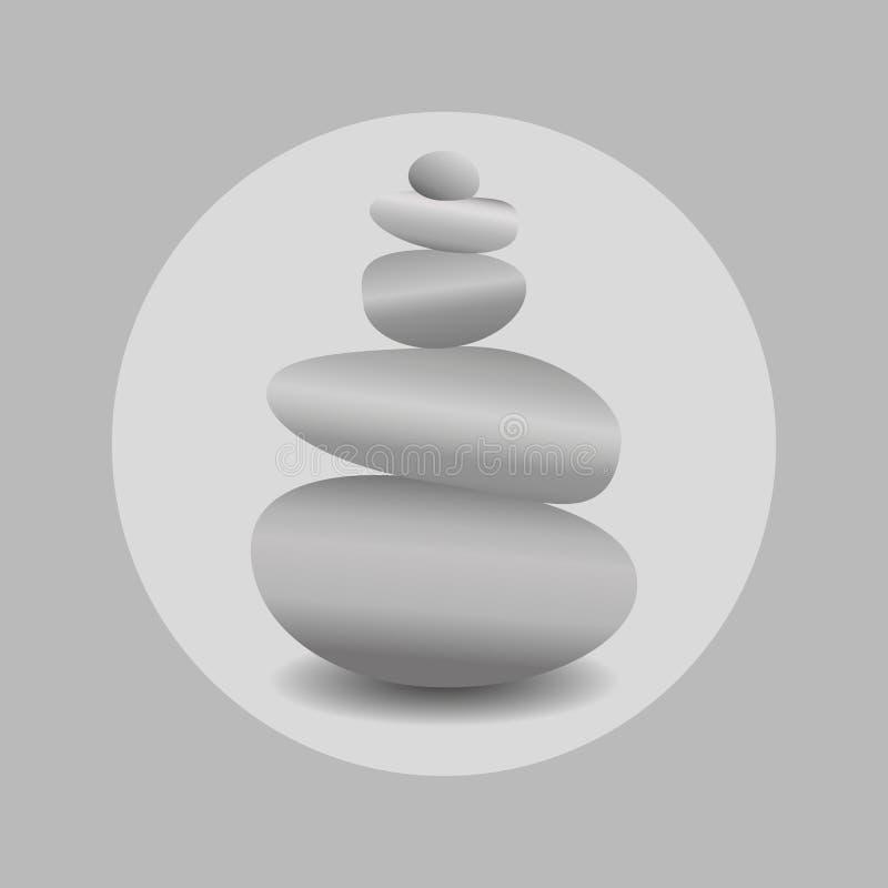 Zensteinbalance, realistisches Bild im runden Rahmen in den Schwarzweiss-Farben Bild 3D von Steinen stock abbildung