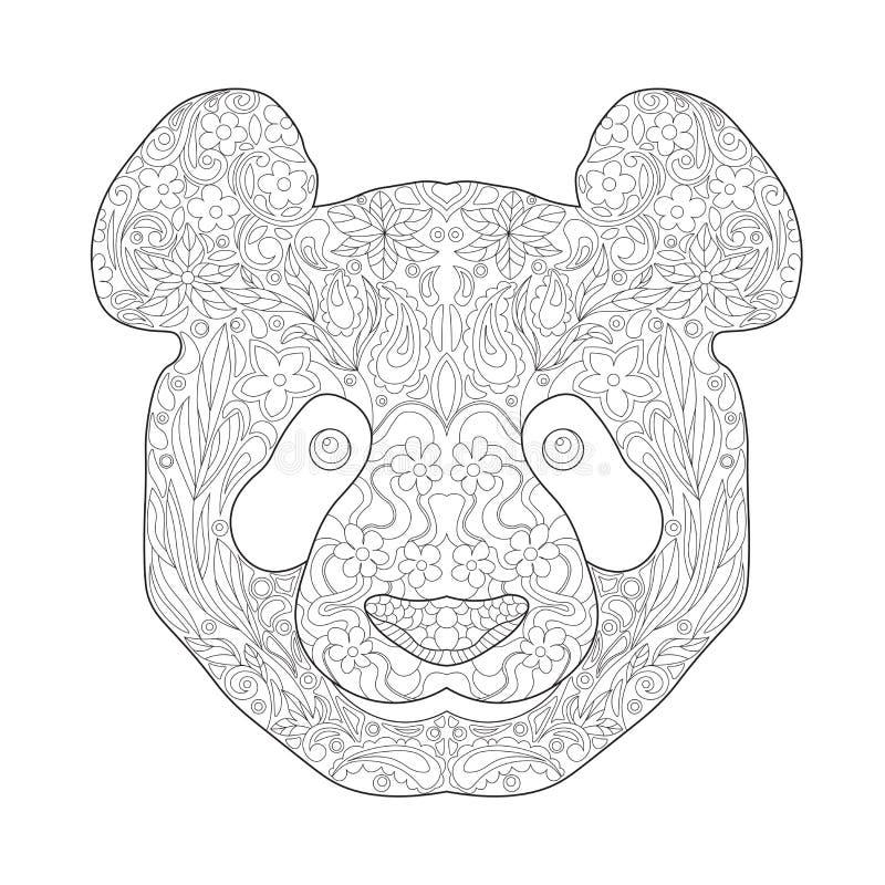 Zentagle ethnique Panda Head tiré par la main fleuri Illustration noire et blanche de vecteur de griffonnage d'encre Croquis pour illustration libre de droits