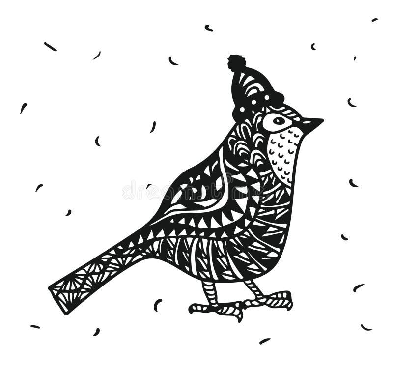 Zentagle rudzika ptak w boże narodzenie kapeluszu grafika royalty ilustracja