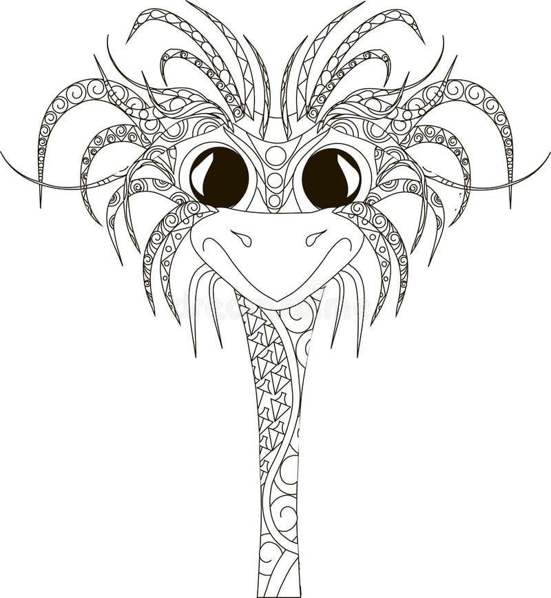 Zentangl驼鸟头,在白色的稀薄的黑线 库存例证