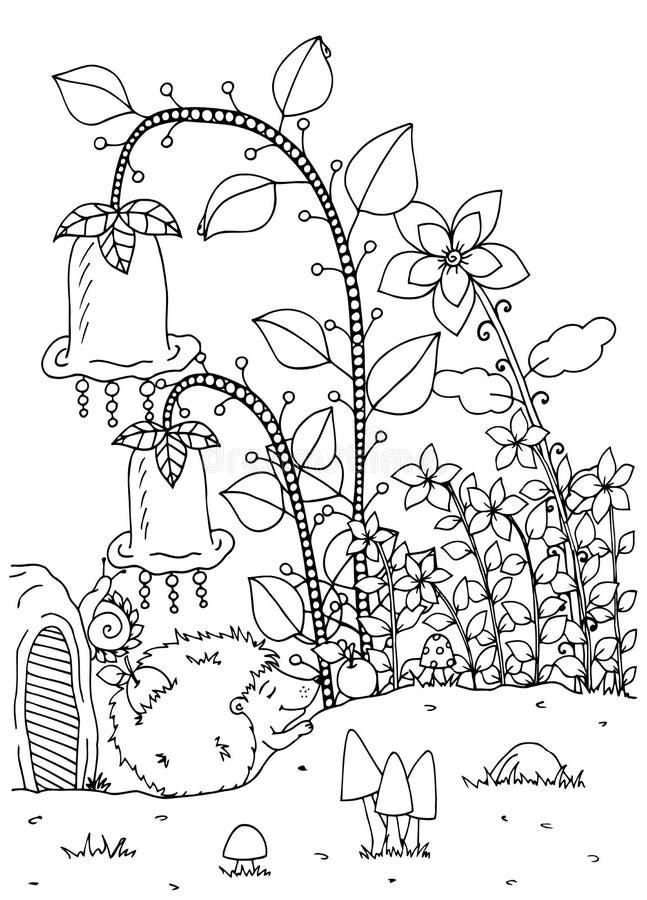 Zentangl иллюстрации вектора Еж и дом Doodle Стресс страницы расцветки анти- для взрослых Черная белизна иллюстрация вектора