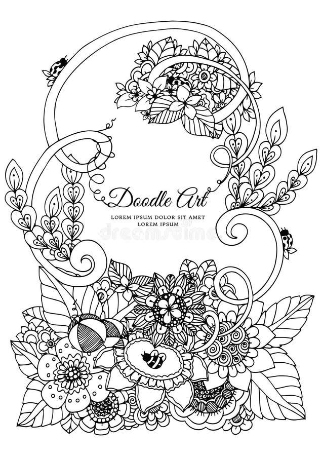Zentangl иллюстрации вектора, флористическая рамка Чертеж Doodle Стресс книжка-раскраски анти- для взрослых Медитативные трениров иллюстрация вектора