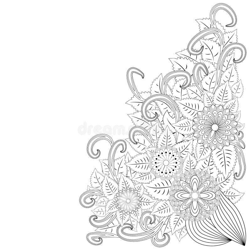 zentangl da ilustração Floresça o frame Livro de coloração Antistress para adultos e crianças O trabalho foi feito na modalidade  ilustração royalty free