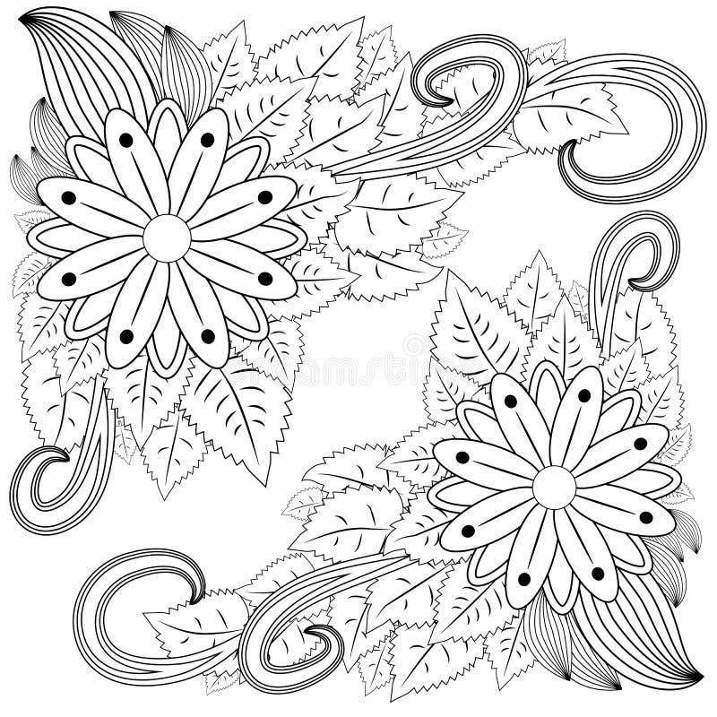 zentangl da ilustração Floresça o frame Livro de coloração Antistress para adultos e crianças O trabalho foi feito na modalidade  ilustração do vetor