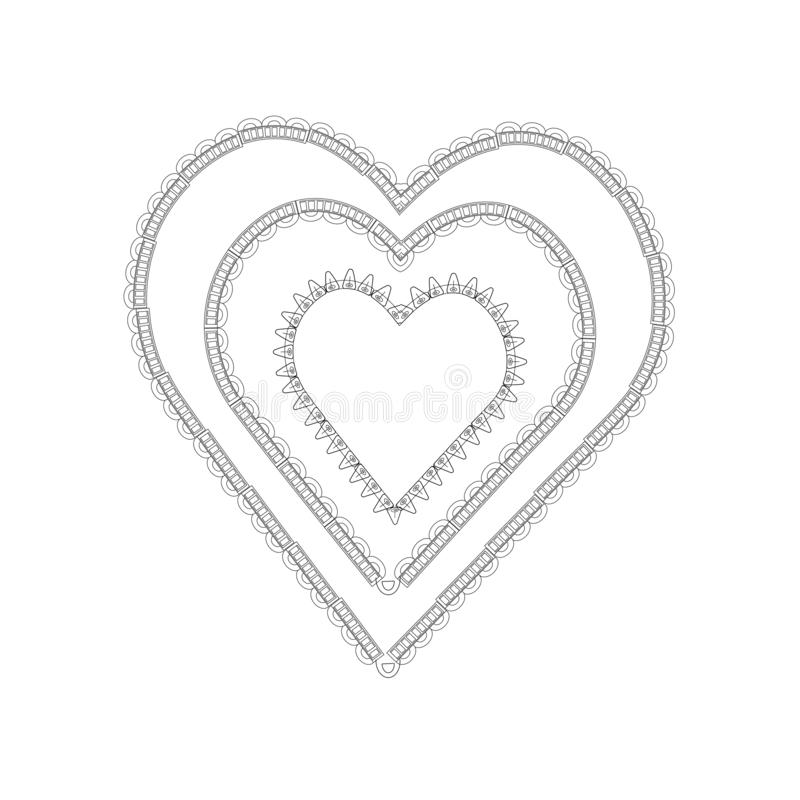 Zentangl heart with ornament royalty free illustration