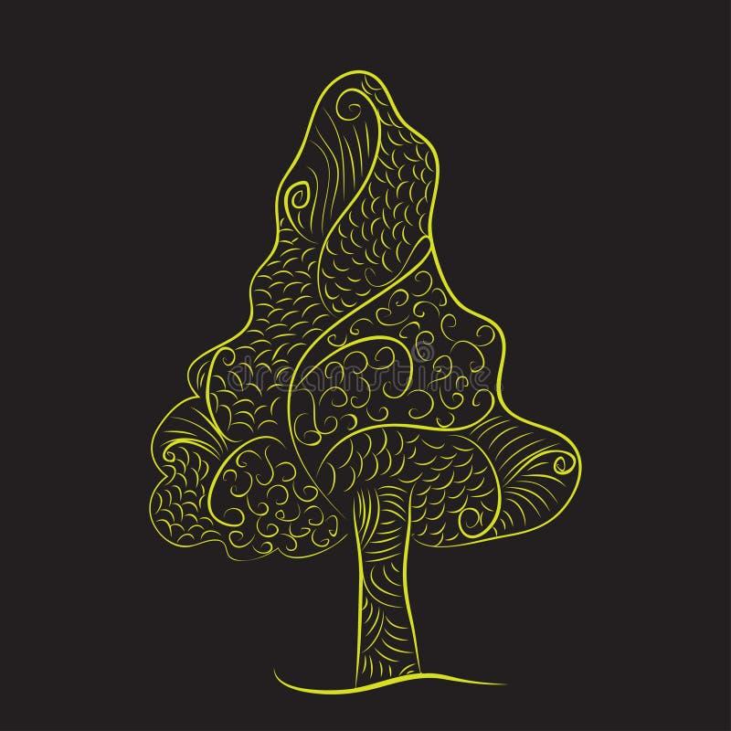 Zentangle乱画树绿色黄色黑色背景 皇族释放例证