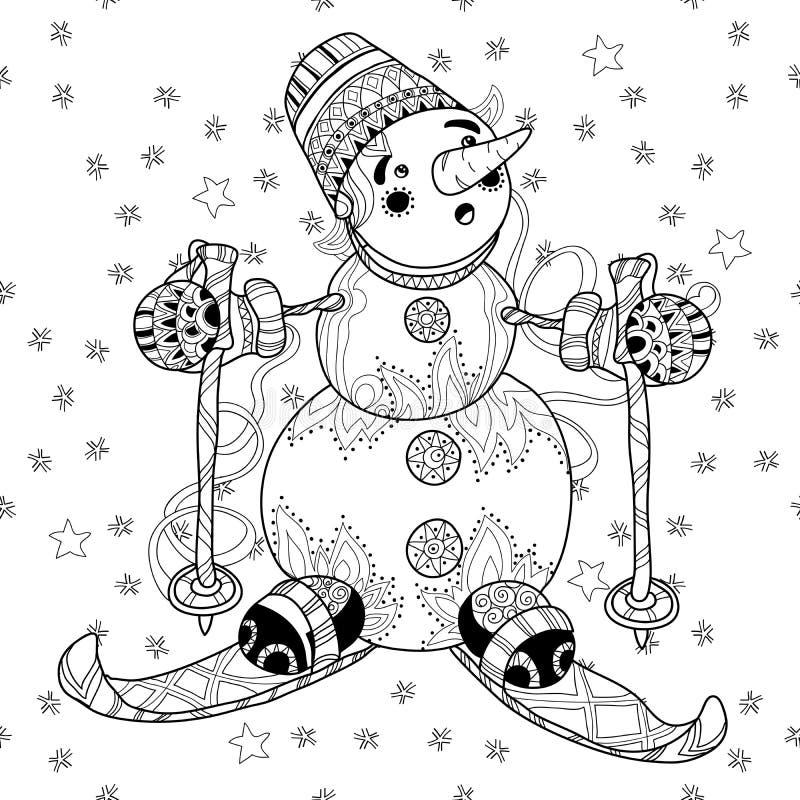 Zentangle乱画手拉的圣诞节雪人滑雪 向量例证