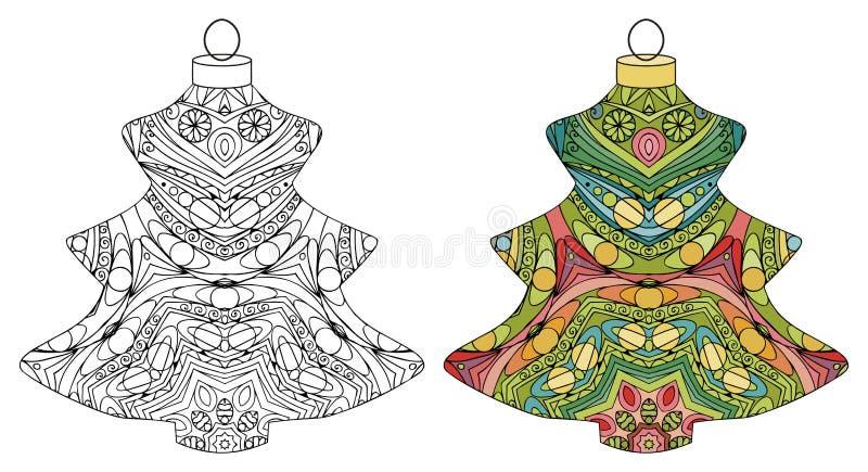 Zentangle传统化了圣诞节装饰 手拉的鞋带传染媒介例证 上色和被绘的标本的球 库存例证