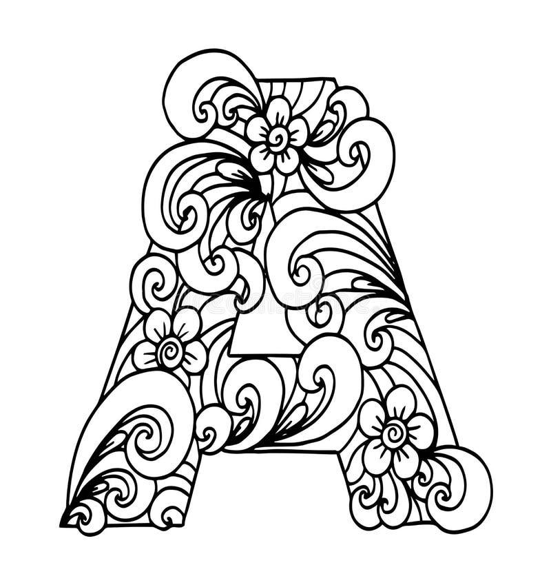 Zentangle传统化了字母表 在乱画样式的A上写字 库存例证