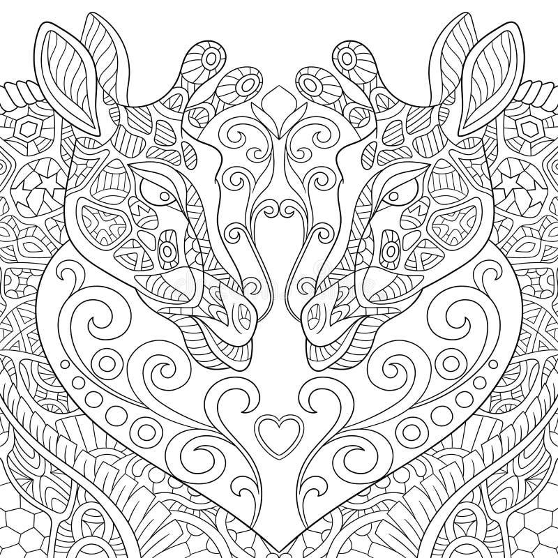 Zentangle传统化了与心脏的两头可爱的长颈鹿 向量例证
