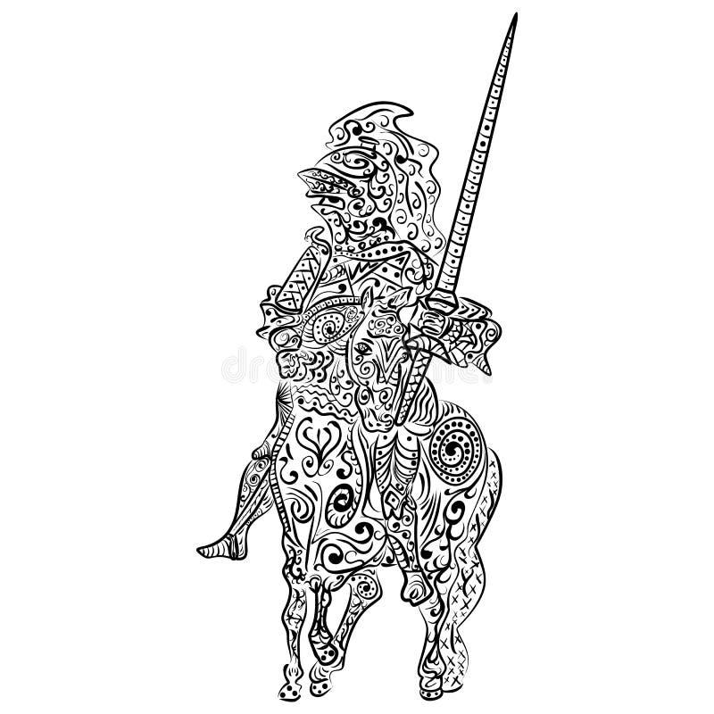 Zentangle传统化了传染媒介一个骑士的墨水剪影马的 向量例证