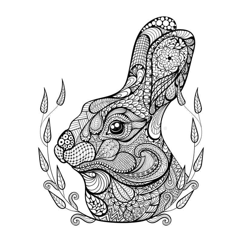 Zentangle传统化了兔子头在花圈的 手拉的乱画 库存例证