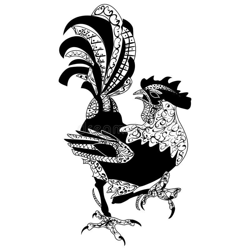 Zentangle传统化了动画片雄鸡公鸡,隔绝在白色背景 向量例证