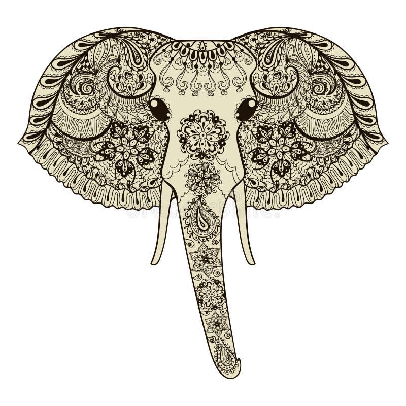Zentangle传统化了印度象 手拉的传染媒介illustrati 库存例证