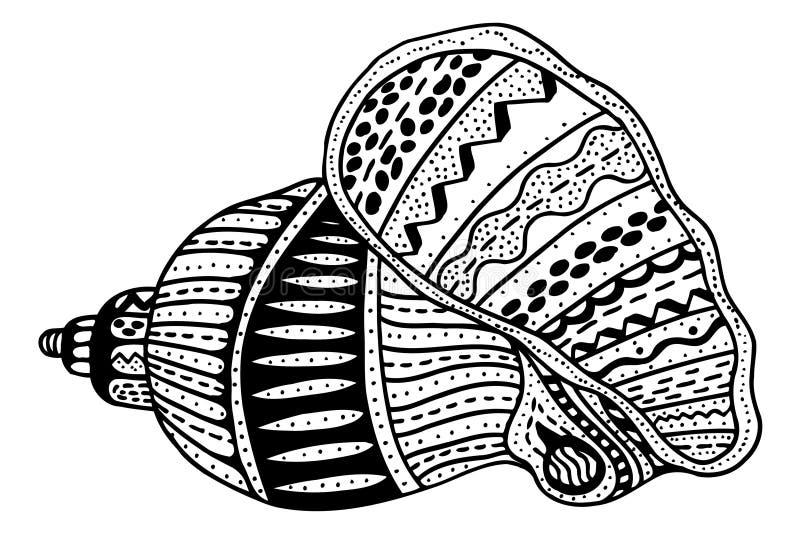 Zentangle传统化了壳 皇族释放例证