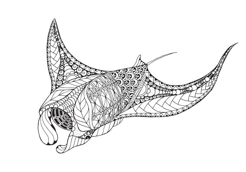 Zentangle传统化了披巾, mobula,恶魔鱼 库存例证