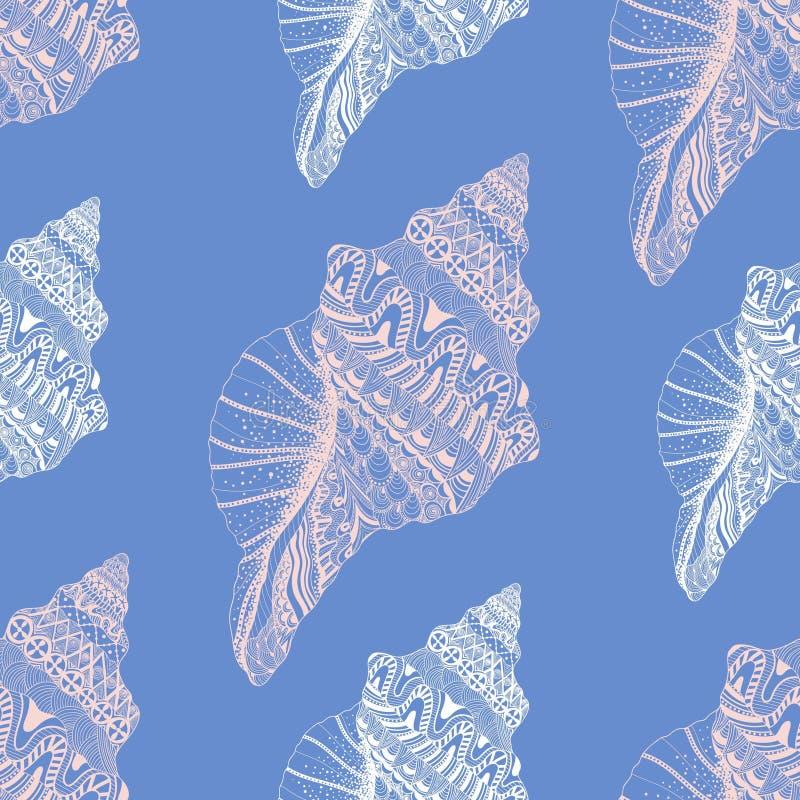 Zentangle传统化了海海扇壳无缝的样式 拉长的现有量 皇族释放例证