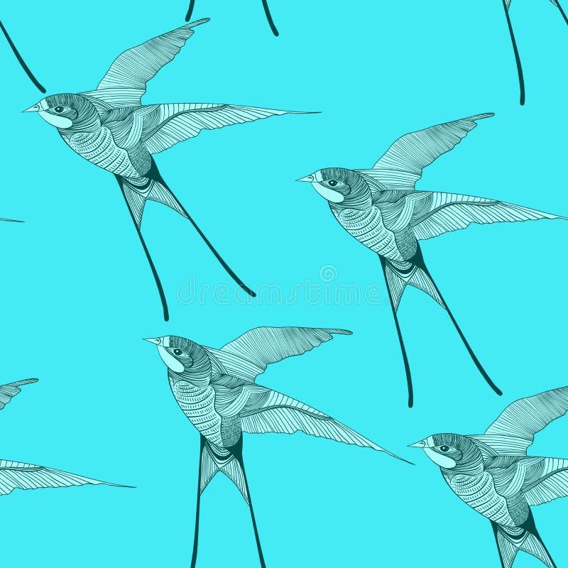 Zentangle传统化了燕子无缝的样式手拉的i 向量例证