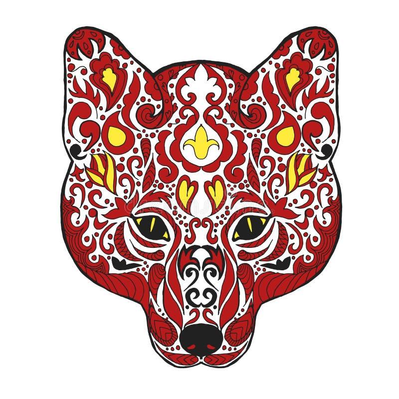 Zentangle传统化了狐狸头 纹身花刺或T恤杉的剪影 库存例证