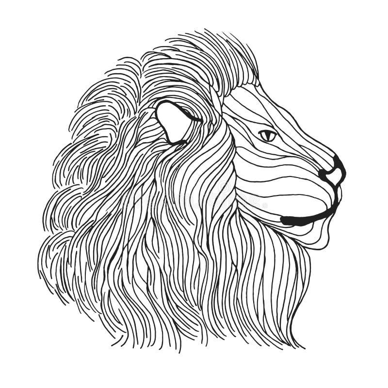 Zentangle传统化了狮子头 纹身花刺或T恤杉的剪影 库存例证