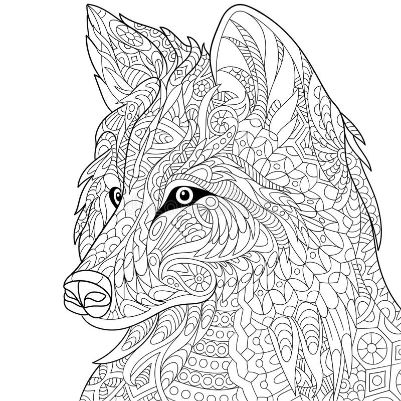 Zentangle传统化了狼 皇族释放例证