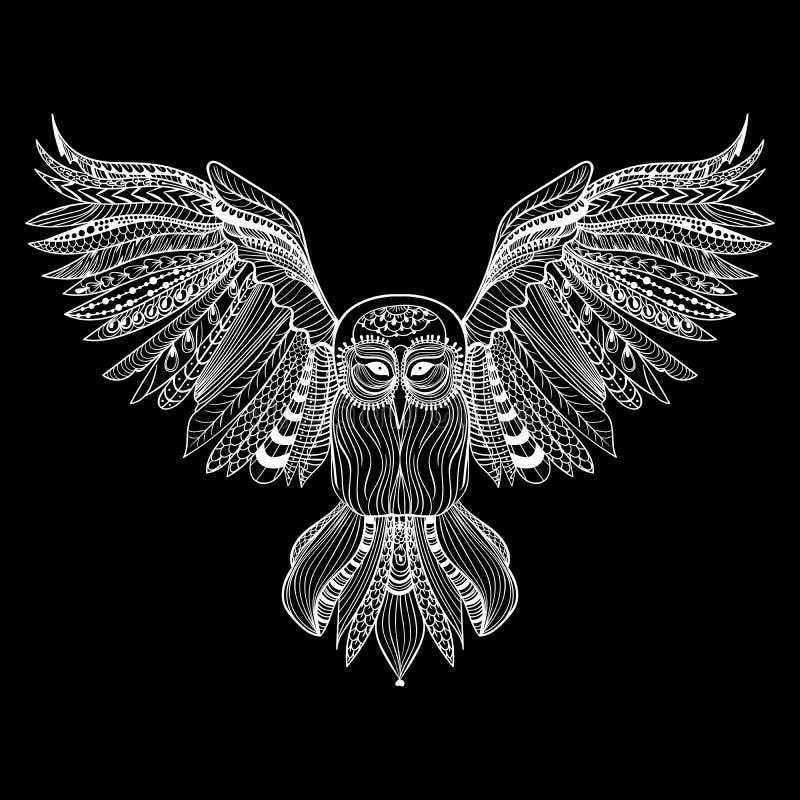 Zentangle传统化了猫头鹰 被隔绝的手拉的例证 皇族释放例证