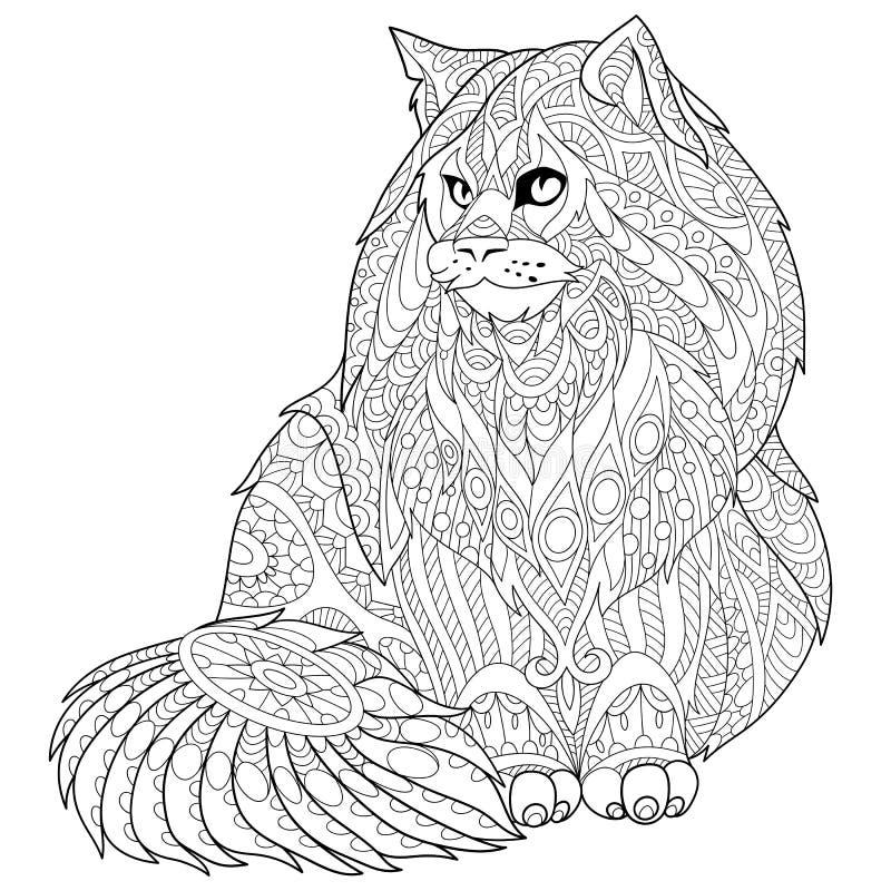 Zentangle传统化了缅因树狸猫 向量例证