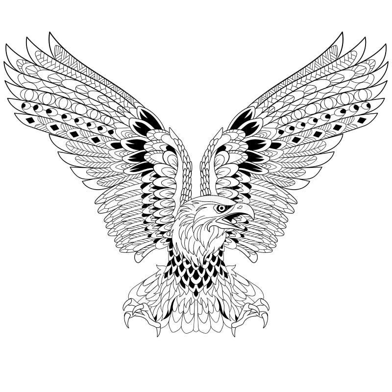 Zentangle传统化了老鹰 皇族释放例证
