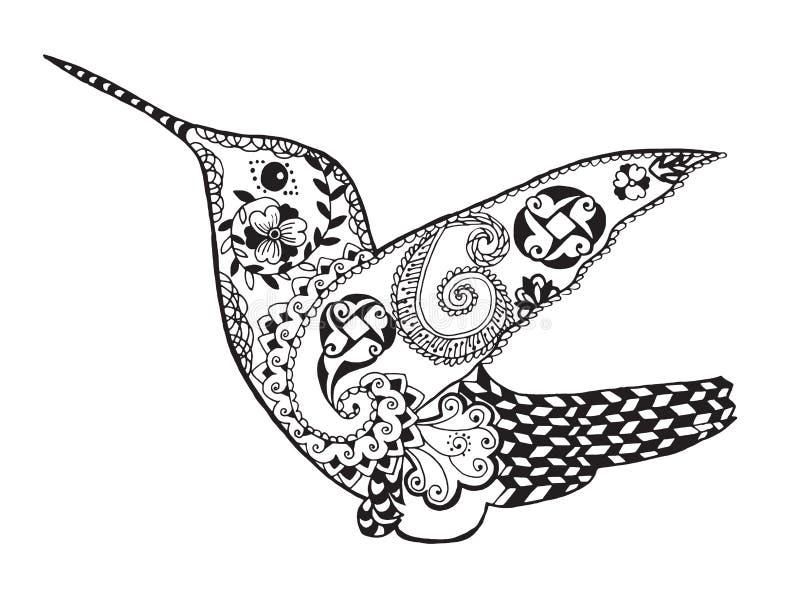 Zentangle传统化了蜂鸟 纹身花刺或T恤杉的剪影 向量例证