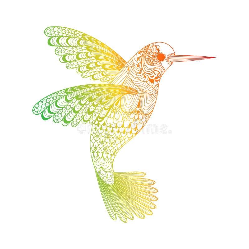 Zentangle传统化了蜂鸟 象查找的画笔活性炭被画的现有量例证以图例解释者做柔和的淡色彩对传统 向量例证