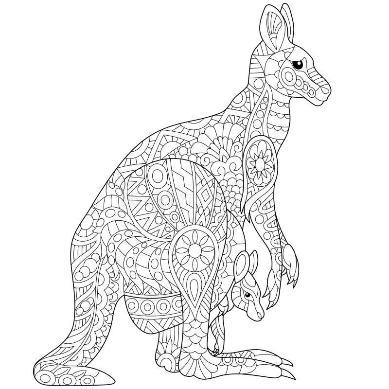 Zentangle传统化了袋鼠 库存例证